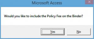 Policy Fee Binder