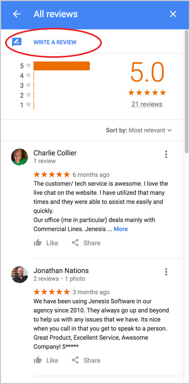 Picture where to click to write a Google review